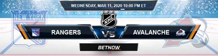New York Rangers vs Colorado Avalanche 03-11-2020 Spread Picks and Odds