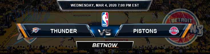 Oklahoma City Thunder vs Detroit Pistons 3-4-2020 NBA Spread and Picks