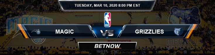 Orlando Magic vs Memphis Grizzlies 3-10-2020 Odds Picks and Previews