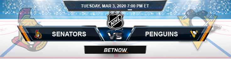 Ottawa Senators vs Pittsburgh Penguins 03-03-2020 NHL Preview Picks and Betting Odds