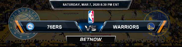 Philadelphia 76ers vs Golden State Warriors 3-7-2020 NBA Odds and Picks