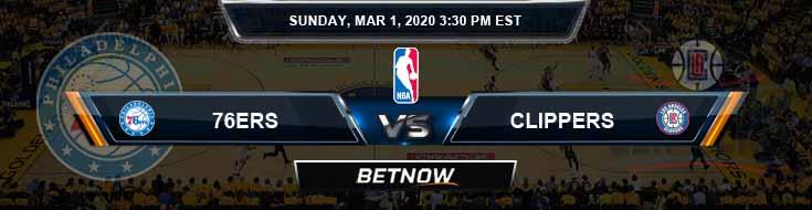 Philadelphia 76ers vs Los Angeles Clippers 3-1-2020 NBA Spread and Picks