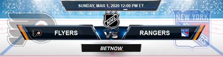 Philadelphia Flyers vs New York Rangers 03-01-2020 Betting Previews Odds and NHL Predictions