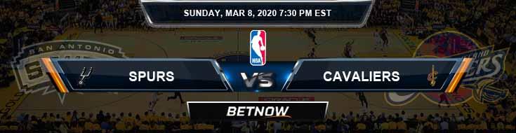 San Antonio Spurs vs Cleveland Cavaliers 3-8-2020 NBA Odds and Picks