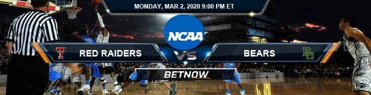 Texas Tech Red Raiders vs Baylor Bears 3/2/2020 NCAAB Odds, Spread and Preview