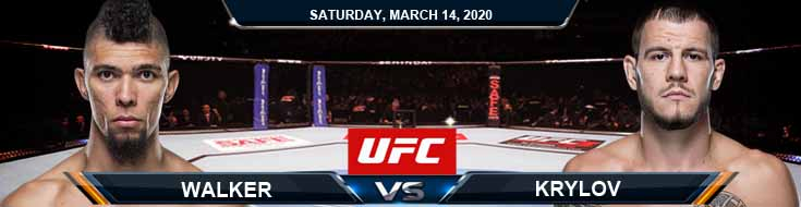 UFC Fight Night 170: Walker vs Krylov 03/14/2020 Betting Spread, UFC Previews and Fight Analysis