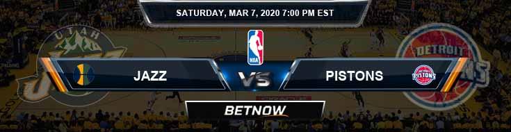 Utah Jazz vs Detroit Pistons 3-7-2020 Odds Picks and Game Analysis