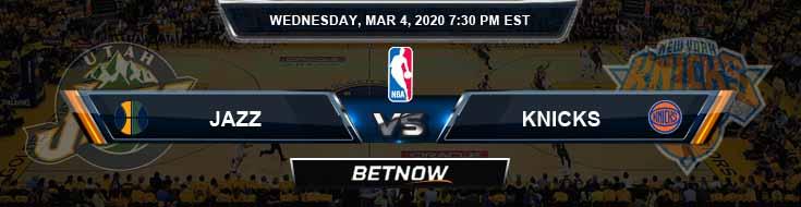 Utah Jazz vs New York Knicks 3-04-2020 Spread Picks and Prediction