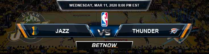 Utah Jazz vs Oklahoma City Thunder 3-11-2020 Odds Picks and Previews