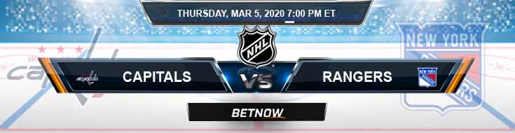 Washington Capitals vs New York Rangers 03-05-2020 NHL Preview Odds and Betting Predictions