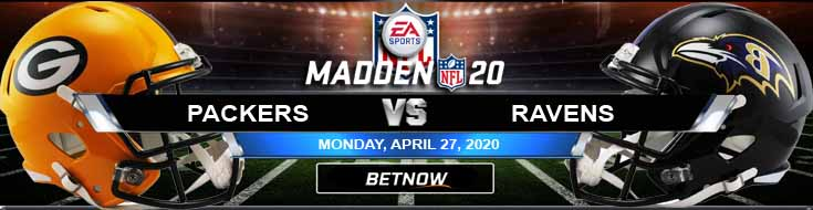 Green Bay Packers vs Baltimore Ravens 04-27-2020 NFL Madden20 Odds Picks and Predictions