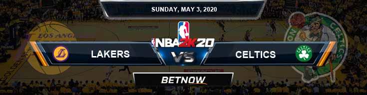NBA 2k20 Sim Los Angeles Lakers vs Boston Celtics 5-3-20 Odds Picks and Prediction