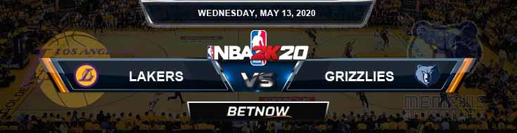 NBA 2k20 Sim Los Angeles Lakers vs Memphis Grizzlies 5-13-2020 NBA Odds and Picks