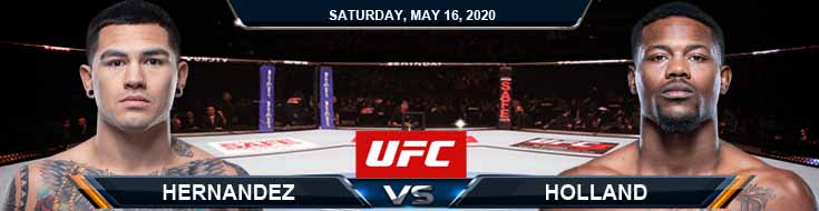UFC Fight Night 172 Hernandez vs Holland 05-16-2020 UFC Picks Odds and Results