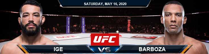 UFC Fight Night 172 Ige vs Barboza 05-16-2020 UFC Picks Betting Odds and Fight Analysis