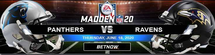 Carolina Panthers vs Baltimore Ravens 06-18-2020 NFL Madden20 Odds Forecast and Football Tips