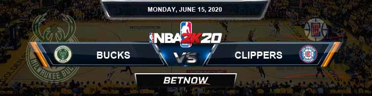 NBA 2k20 Sim Milwaukee Bucks vs Los Angeles Clippers 6-15-2020 NBA Odds and Picks
