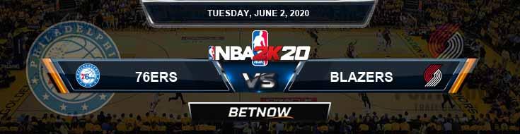 NBA 2k20 Sim Philadelphia 76ers vs Portland Trail Blazers 6-2-2020 NBA Odds and Picks