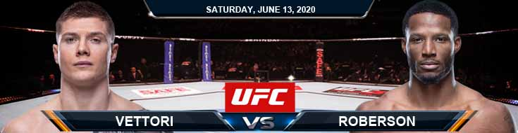 UFC Fight Night 172 Vettori vs Roberson 06-13-2020 UFC Previews Betting Spread and Fight Analysis