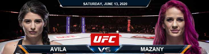UFC on ESPN 10 Avila vs Mazany 06-13-2020 UFC Predictions Betting Results and Spread