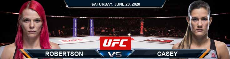 UFC on ESPN 11 Robertson vs Casey 06-20-2020 UFC Picks Odds and Betting Results