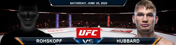UFC on ESPN 11 Rohskopf vs Hubbard 06-20-2020 UFC Forecasts Predictions and Results