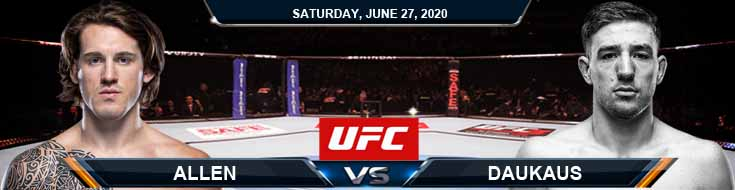 UFC on ESPN 12 Daukaus vs Allen 06-27-2020 UFC Forecasts Tips and Betting Results