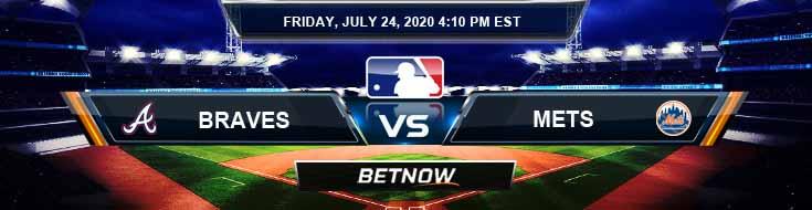 Atlanta Braves vs New York Mets 07-24-2020 MLB Odds Betting Results and Baseball Picks
