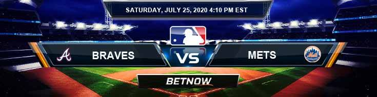 Atlanta Braves vs New York Mets 07-25-2020 MLB Picks Predictions and Betting Previews