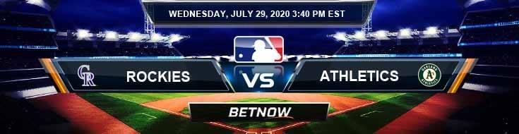 Colorado Rockies vs Oakland Athletics 07-29-2020 MLB Odds Picks and Betting Predictions
