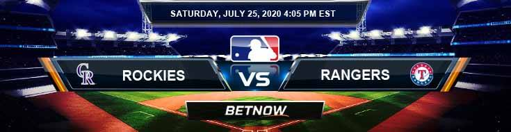Colorado Rockies vs Texas Rangers 07-25-2020 MLB Picks Predictions and Baseball Previews
