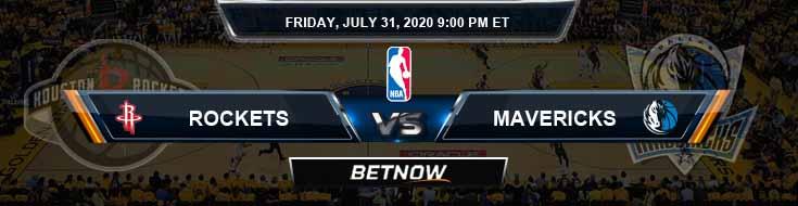 Houston Rockets vs Dallas Mavericks 7-31-2020 Odds Picks and Prediction