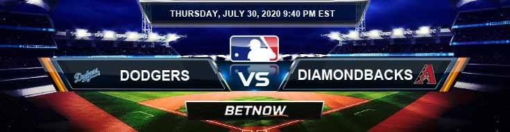 Los Angeles Dodgers vs Arizona Diamondbacks 07-30-2020 MLB Analysis Results and Baseball Odds