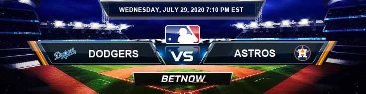 Los Angeles Dodgers vs Houston Astros 07-29-2020 MLB Picks Odds and Baseball Predictions