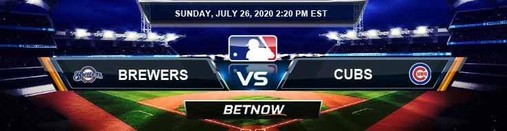 Milwaukee Brewers vs Chicago Cubs 07-26-2020 MLB Odds Baseball Tips and Predictions