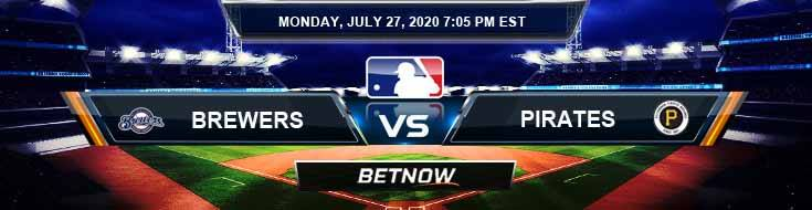 Milwaukee Brewers vs Pittsburgh Pirates 07-27-2020 Baseball Betting MLB Picks and Previews