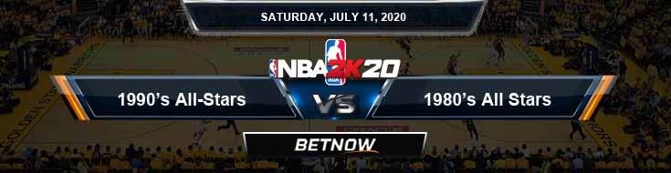 NBA 2k20 Sim 1990's All-Stars vs 1980's All-Stars 7-11-2020 NBA Odds and Picks