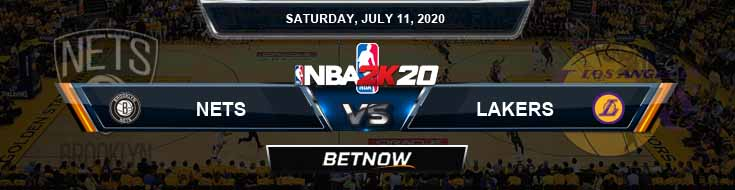 NBA 2k20 Sim Brooklyn Nets vs Los Angeles Lakers 7-11-2020 NBA Odds and Picks