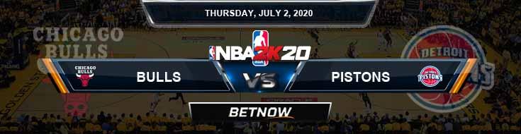 NBA 2k20 Sim Chicago Bulls vs Detroit Pistons 7-02-2020 NBA Odds and Picks