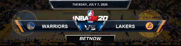 NBA 2k20 Sim Golden State Warriors vs Los Angeles Lakers 7-7-2020 NBA Odds and Picks