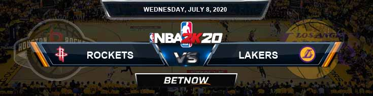 NBA 2k20 Sim Houston Rockets vs Los Angeles Lakers 7-8-2020 NBA Odds and Picks