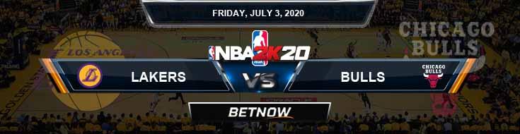 NBA 2k20 Sim Los Angeles Lakers vs Chicago Bulls 7-3-2020 NBA Odds and Picks