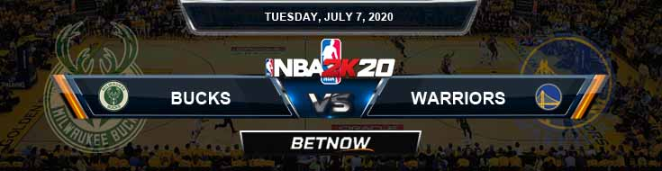 NBA 2k20 Sim Milwaukee Bucks vs Golden State Warriors 7-7-2020 NBA Odds and Picks