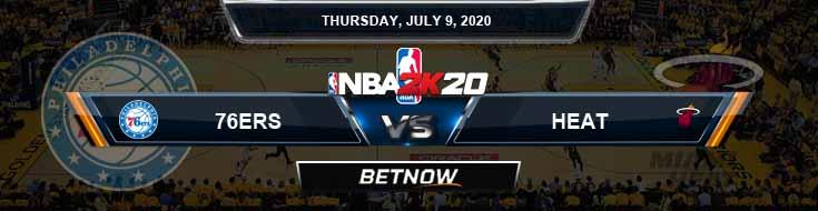 NBA 2k20 Sim Philadelphia 76ers vs Miami Heat 7-9-2020 NBA Odds and Picks