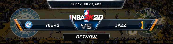 NBA 2k20 Sim Philadelphia 76ers vs Utah Jazz 7-3-2020 NBA Odds and Picks