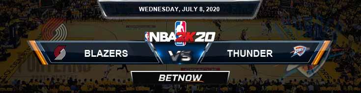 NBA 2k20 Sim Portland Trail Blazers vs Oklahoma City Thunder 7-8-2020 NBA Odds and Picks
