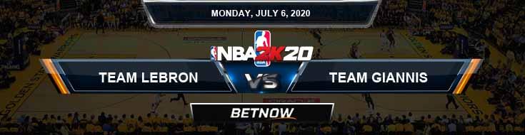 NBA 2k20 Sim Team LeBron vs Team Giannis 7-6-2020 NBA Odds and Picks