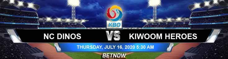 NC Dinos vs Kiwoom Heroes 07-16-2020 KBO Previews Baseball Spread and Tips