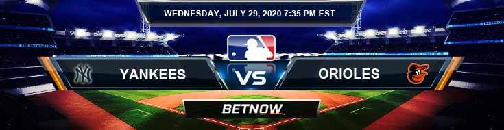 New York Yankees vs Baltimore Orioles 07-29-2020 MLB Results Odds and Betting Picks