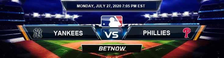 New York Yankees vs Philadelphia Phillies 07-27-2020 Baseball Picks MLB Predictions and Spread
